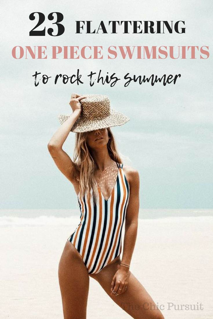23 Most Flattering One Piece Swimsuits to hide your tummy this summer! There are swimsuits for every taste: modest, cheeky, classy, floral, striped and everything in between!