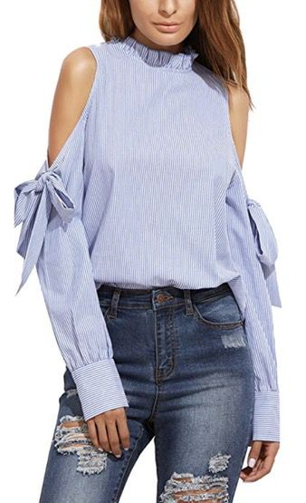 50 Best Amazon Clothing Finds & Outfits For Women - Blue Cold Shoulder Shirt. This is where to shop for cheap items that look expensive! We've compiled a list of the best boots, shoes, bags, designer dupes, dresses, coats and cardigans for both the summer and winter seasons.