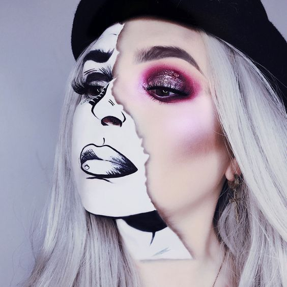 41 Most Jaw-Dropping Halloween Makeup Ideas That Are Still Pretty: Mime Makeup / Click though to see more awe inspiring pretty Halloween makeup looks, gorgeous Halloween makeup and Halloween costumes. #halloweenmakeup #halloweenmakeuppretty #halloweencostumes #halloweenmakeupinspo #mimemakeup