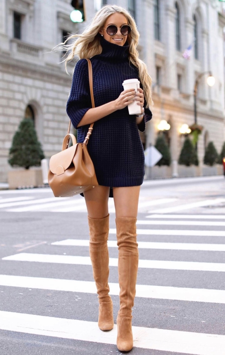 21+ Winter Outfits To Copy ASAP: Navy sweater dress with tan over the knee boots. These casual winter outfits will keep you warm when other cold weather outfits may fail you. Check out these over the knee boot outfit looks, sweater outfits and other winter fashion outfits from the biggest fashion bloggers to get inspired now! Image ©MacyStucke #winterfashion #winteroutfits #casualwinteroutfits #sweaterdress #overthekneeboots