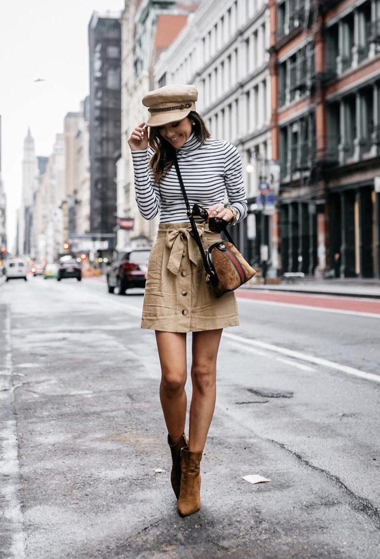 21+ Winter Outfits To Copy ASAP: Stripe shirt with camel baker boy hat. These casual winter outfits will keep you warm when other cold weather outfits may fail you. Check out these over the knee boot outfit looks, sweater outfits and other winter fashion outfits from the biggest fashion bloggers to get inspired now! Image ©Alyson_Haley #winterfashion #winteroutfits #casualwinteroutfits #stripeshirt