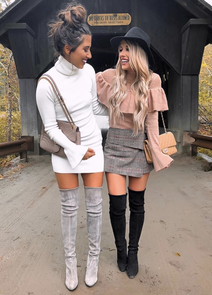 17 Trendy winter street style outfits and outfit ideas to step up your game this fall and winter: Ruffle top with over the knee boots. These winter street style looks are perfect to cosy up with in any urban city. Click over to the article and get inspired by more casual winter fashion looks! Image © LauraBeverlin. #winterfashion #winteroutfits #streetstyle #overthekneeboots #ruffles