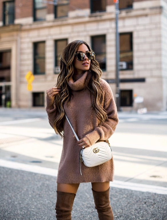 21+ Winter Outfits To Copy ASAP: Camel Sweater Dress With Tan Over The Knee Boots. These casual winter outfits will keep you warm when other cold weather outfits may fail you. Check out these over the knee boot outfit looks, sweater outfits and other winter fashion outfits from the biggest fashion bloggers to get inspired now! Image ©MiaMiaMine #winterfashion #winteroutfits #sweaterdress #overthekneeboots