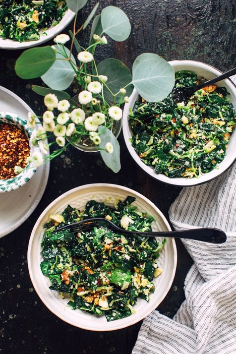 15 Mouth-Watering Keto Thanksgiving Recipes: Shredded Kale & Brussels Sprouts Salad. These keto thanksgiving sides, desserts, appetisers and dinner ideas are the perfect way to manage your weight during the festive season. Check out these low carb, sugar free, high protein and vegan ketogenic recipes and get inspired to cook better keto dinners. Image © Kitchen Konfidence. #ketothanksgivingrecipes #ketogenic #ketorecipes #lowcarb #vegan #thanksgivingsides