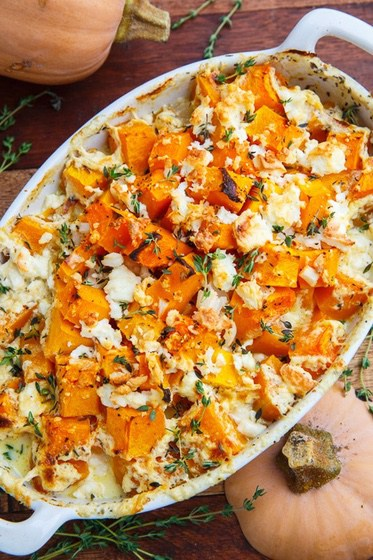 15 Mouth-Watering Keto Thanksgiving Recipes: Butternut Squash & Feta Gratin. These keto thanksgiving sides, desserts, appetisers and dinner ideas are the perfect way to manage your weight during the festive season. Check out these low carb, sugar free and high protein ketogenic recipes and get inspired to cook better keto dinners. Image © Closet Cooking. #ketothanksgivingrecipes #ketogenic #ketorecipes #lowcarb #thanksgivingsides