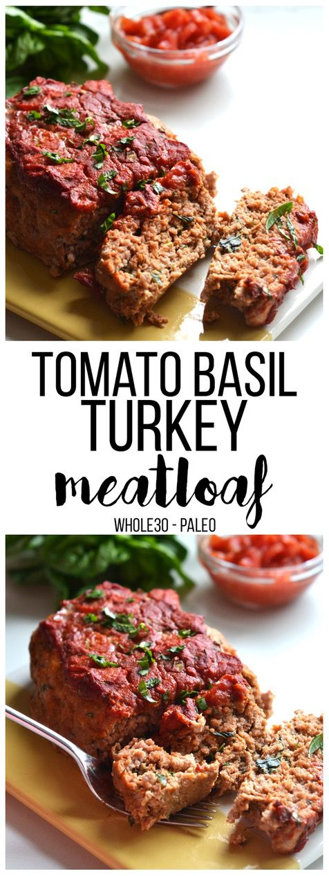 15 Mouth-Watering Keto Thanksgiving Recipes: Tomato Basil Turkey Meatloaf. These keto thanksgiving sides, desserts, appetisers and dinner ideas are the perfect way to manage your weight during the festive season. Check out these low carb, sugar free and high protein ketogenic recipes and get inspired to cook better keto dinners. Image © Little Bits Of. #ketothanksgivingrecipes #ketogenic #ketorecipes #lowcarb #paleorecipes