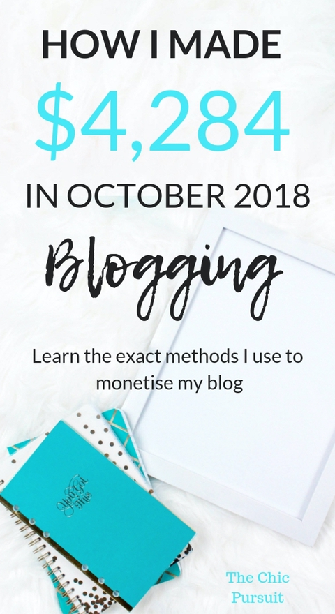 How I Made $4,285 Blogging In October. My blog income report will show you exactly how I made $4,284 blogging this month through affiliate marketing, sponsored posts, ads and selling digital products. Learn how to monetize your own blog and make money working from home by starting your own blog today. #startablog #makemoneyblogging #blogforprofit #onlinebusiness #makemoneyonline #workfromhome #incomereport #blogincomereport