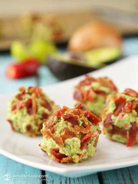 30 Best Keto Snacks For Weight Loss: Bacon & Guacamole Fat Bombs. These delicious & healthy keto snacks help you maintain ketosis and won't break your ketogenic diet. If you're looking for quick and easy keto diet snacks to have on the go, check these keto recipes out. You can also enjoy these snacks as low carb meals or keto appetizers. Either way, there are plenty of savoury and sweet keto snacks ideas to choose from! #ketosnacks #ketorecipes #ketodiet #ketogenic